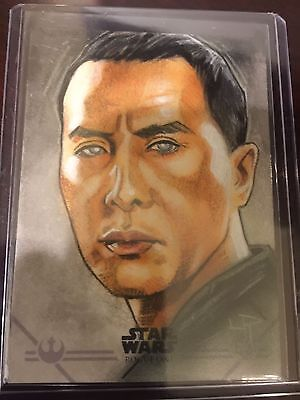 2016 Topps Star Wars Rogue One Lawrence Reynolds Color Sketch Card Chirrut Imwe