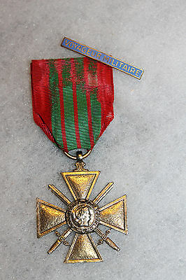 French WW2 Croix De Guerre (Cross of War) Well Worn w/Ribbon & French Bar
