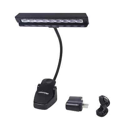 LED Lights Stand Lamp with Clip on for Book Reading and Music Play Piano, Black