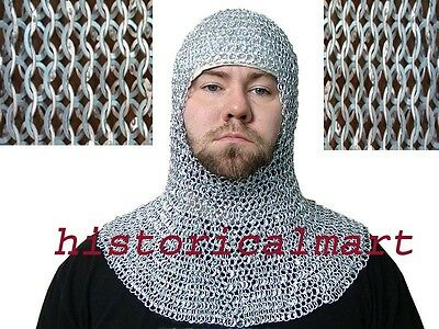 Chain mail 9 mm round riveted with warser coif / hood medieval hood