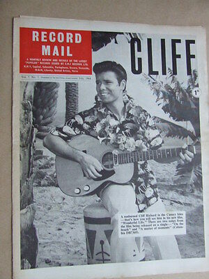 """Record Mail""  1964 July. Cliff Richard cover. The Animals photo article."