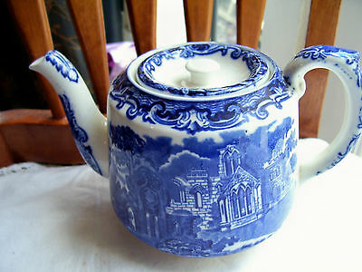 Blue And White George Jones Abbey Teapot Plus At Fault Coffee Pot