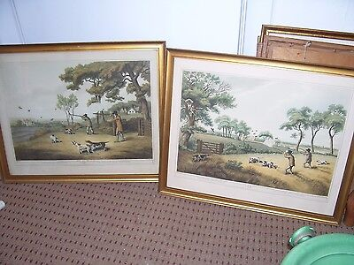 Pair ofAntique Samuel Howitt Partridge Shooting prints 1807