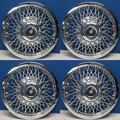 """13"""" Universal Fit Chrome Wire Snap On Hubcaps Low Rider # 1013 BRAND NEW SET 4"""