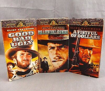 Clint Eastwood Lot of 3 VHS Western Videos Fistful of Dollars Good Bad Ugly