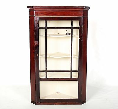 Antique Corner Display Cabinet Bookcase Victorian Mahogany Astragal Glazed Glass