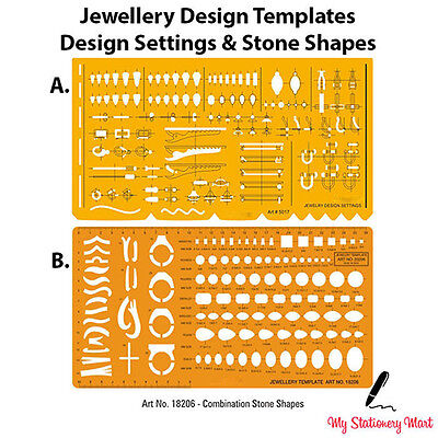 Jewellery Design Drawing Drafting Template Stencil Gemstone Stone Rings Bracelet