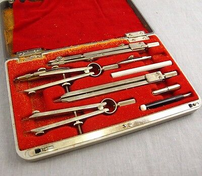 Frederick Post Vintage Drafting Tools Instruments Set Engineering Drawing Case