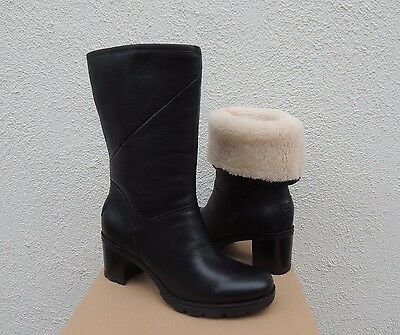 4cb87d6f0c4 UGG AUSTRALIA JESSIA Lug Sole Stacked Heel Boots 1013901 Black water ...