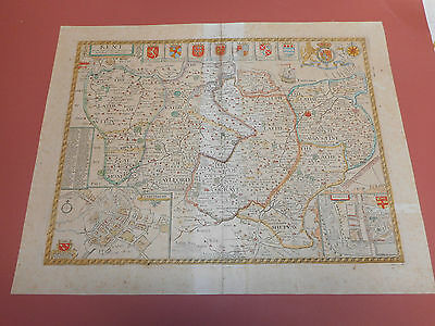 100% Original Large Kent Map By John Speed C1676 Hand Coloured  Vgc