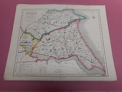 100% Original East Yorkshire Fox Hunting Map By Hobson C1860/s Vgc Coloured
