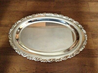 "Large 18"" oval antique heavy silverplate serving tray"