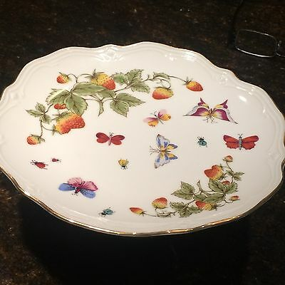 LENVILE ARDALT Vintage Hand Painted China Compote Butterflies Strawberries