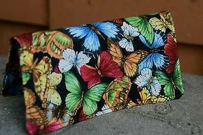 Handmade Fabric Checkbook Cover -  multicolor butterflies