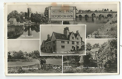 Warks Bidford on Avon Multiview Real Photo Vintage Postcard