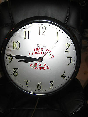 VTG A&P Sign Clock Coffee Advertising A P Supermarket Sessions movement REPAIRS