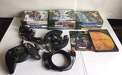 Bundle of 16 First Generation Original XBox Games 2 controllers Plus AV Cable