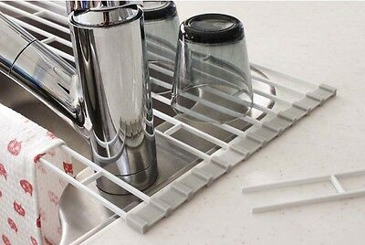 Folding Sink Drainer Rack Dish Glass Cup Drying Dryer Tray Plate Holder Bowl