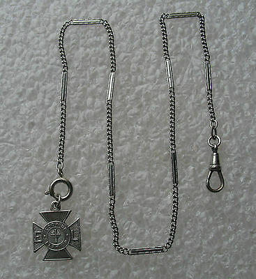 Vintage Silver Tone Pocket Watch Chain & Iron Cross Fob Stamped Germany