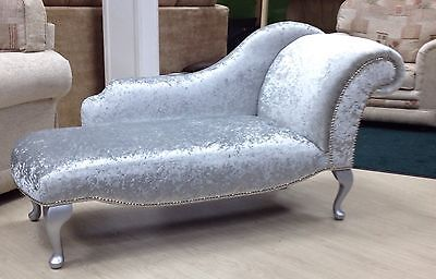 Chaise Longue, Silver Crushed Velvet, Chrome Studs, Queen Anne Legs