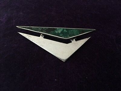 VTG  Sterling silver brooch Mexico modernist abstract  style triangle turquoise