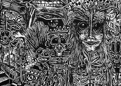 """Detailed Trippy Black & White Drawing of Psychedelic Dream World 14x11"""" Art"""