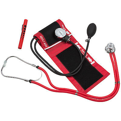 Blood Pressure Cuff with Stethoscope and Matching pouch & Pen Light
