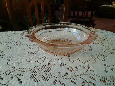 Anchor Hocking Mayfair Open Rose Pink Depression Large Serving Bowl With Handles