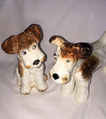 Pair Vtg SYLVAC Pottery Terrier Dog Puppy Buddies Need Home Together!