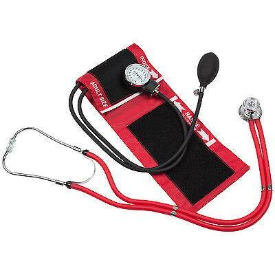 Blood Pressure Cuff with Dual matching Stethoscope & Pouch (Red)