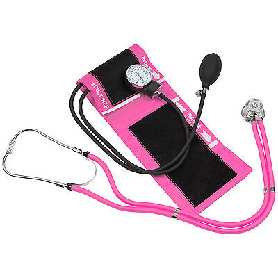 Blood Pressure Cuff with Dual matching Stethoscope & Pouch (Pink)