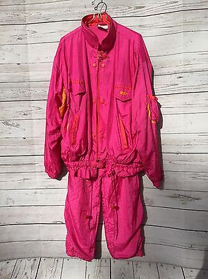 VTG Women's Pierre Cardin Pink Jogging Suit Windbreaker Jacket Pants Sz Large