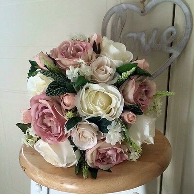 Artificial Vintage Pink & Ivory Wedding Bouquet for Bride