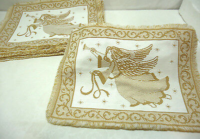 Ten Christmas Placemats Angels Gold & White Woven with Fringe Set