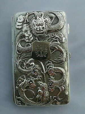 chinese sterling silver repousse cigarette case Dragon and bamboo