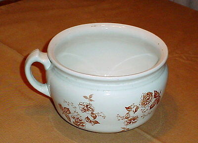 antique brown transferware chamber pot floral motif