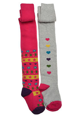2 pairs of Heart Design Girls cotton Tights    Age 3-4years