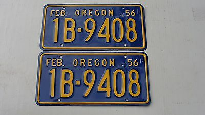 1956 Oregon Restored Pair License Plates # 1B 9408