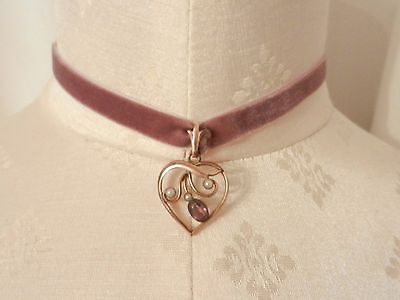 Vintage Edwardian Gold Plated Amethyst and Pearl Paste Heart Pendant Choker