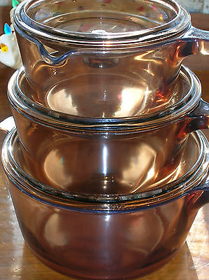 1,1.5, 2.5 L Corning 6 PC Amber Vision Ware Glass Saucepan with Lids Cookware