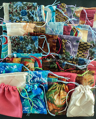 Quality Recycled Fabric Drawstring Bags/Pouches USB Gems Jewellery BULK LOT x25