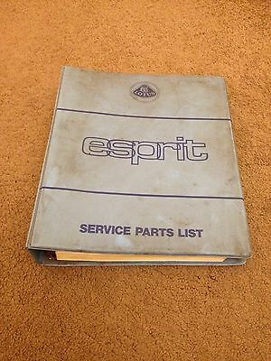 Lotus Esprit Workshop Parts List Manual