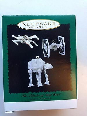 New ~ Star Wars Hallmark Ornament 1996 Vehicles AT-AT X-Wing and Tie Fighter MIB