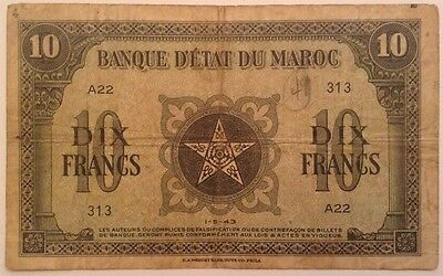 Morocco Banknote. 10 Dollars. Dated 1943