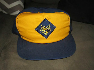 Youth Boy Scouts Uniform Hat Navy Blue Yellow Childs Patch Cubs Bsa