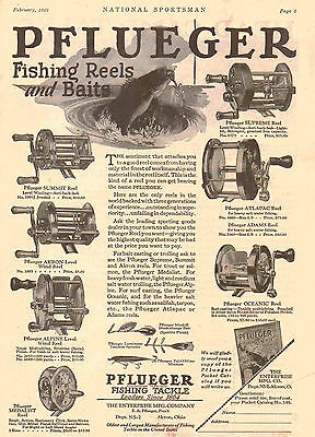 Vintage 1930 prt ad for PFLUEGER Fishing Reels & Baits~Enterprise Mfg, Akron, OH