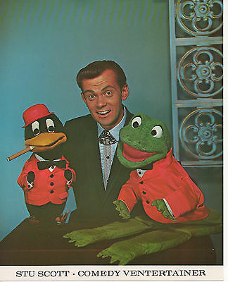 Color Photo Ventriloquist Stu Scott with George a Cocky Crow + Barney the Frog