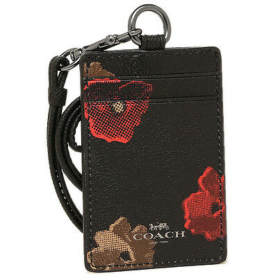 NWT Coach Lanyard ID Case in Black w Floral Print Coated Canvas F56003 $65.