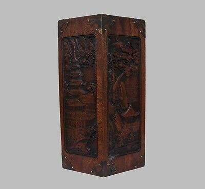 Perfect Large Chinese Carved Rosewood Brush Pot (L627)