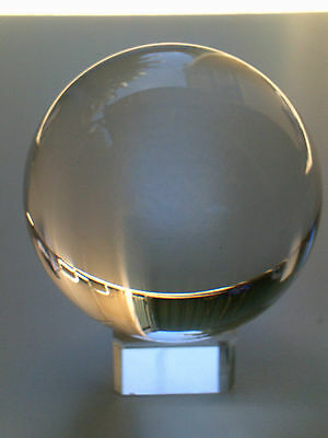 Clear Crystal Ball 80mm with Glass Stand. Sphere Fortune Teller